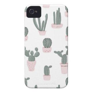 Elegant Cacti in Pots Pattern iPhone 4 Case