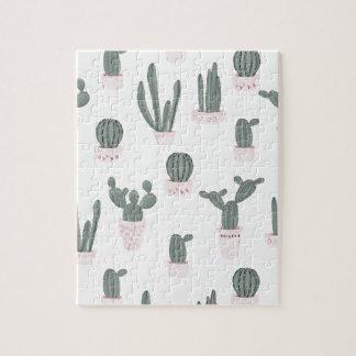 Elegant Cacti in Pots Pattern Jigsaw Puzzle