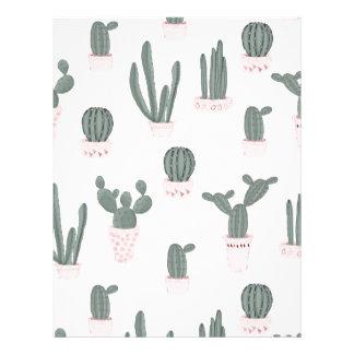 Elegant Cacti in Pots Pattern Letterhead