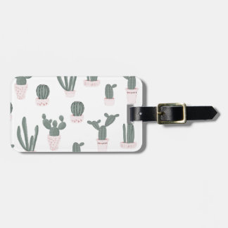 Elegant Cacti in Pots Pattern Luggage Tag