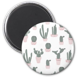 Elegant Cacti in Pots Pattern Magnet