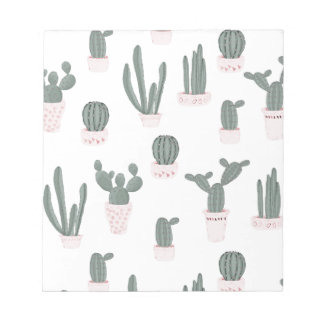Elegant Cacti in Pots Pattern Notepad