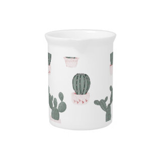 Elegant Cacti in Pots Pattern Pitcher