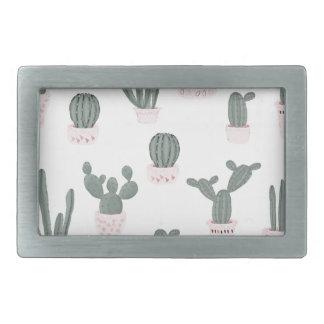 Elegant Cacti in Pots Pattern Rectangular Belt Buckle