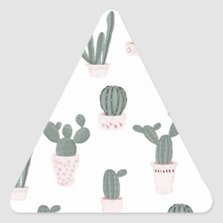 Elegant Cacti in Pots Pattern Triangle Sticker