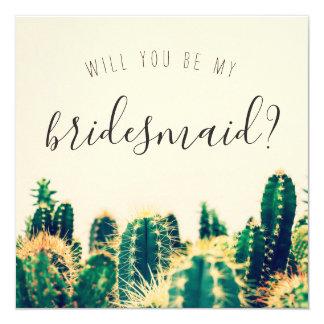 "Elegant Cactus ""Will You Be My Bridesmaid"" Card"