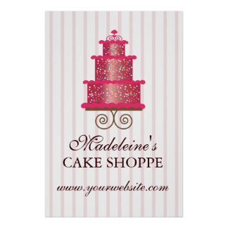 Elegant Cake Custom Bakery Business Poster