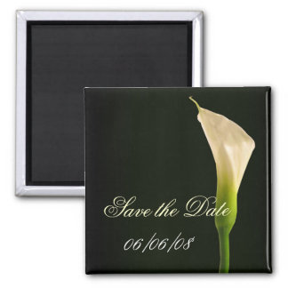 Elegant calla lily save the date square magnet
