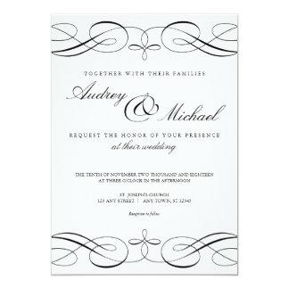 Elegant Calligraphy Black and White Wedding Invite