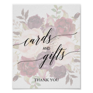 Elegant Calligraphy | Faded Floral Cards & Gifts Poster