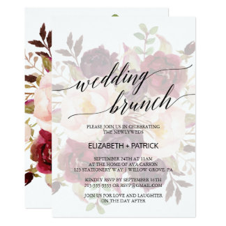 Elegant Calligraphy | Faded Floral Wedding Brunch Card
