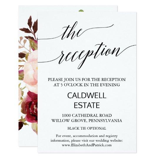 Elegant Calligraphy | Floral Back Reception Insert Card