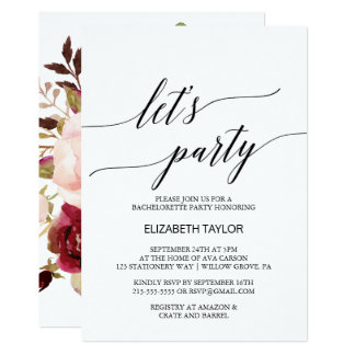 Elegant Calligraphy | Floral Backing Let's Party Card