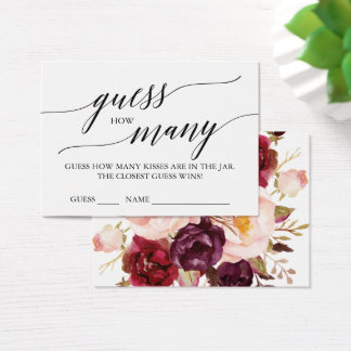 Elegant Calligraphy & Floral Guess How Many Kisses Business Card