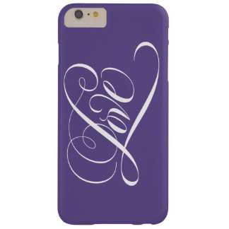 Elegant Calligraphy LOVE Heart Ultra Violet Purple Barely There iPhone 6 Plus Case