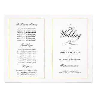 Elegant Calligraphy Wedding Program Gold Border Custom Flyer