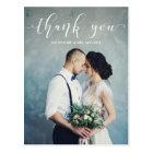Elegant Calligraphy   Wedding Thank You Photo Postcard