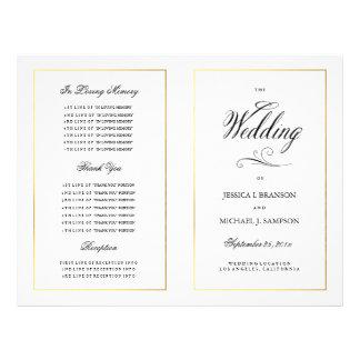 Elegant Calligrpahy Wedding Program Gold Border Custom Flyer