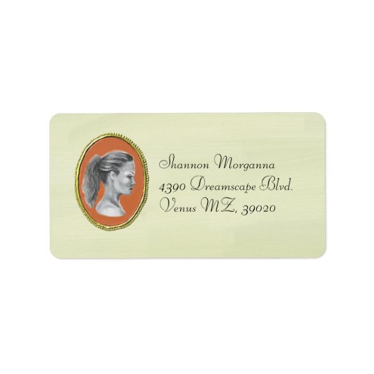 Elegant cameo brooch address label