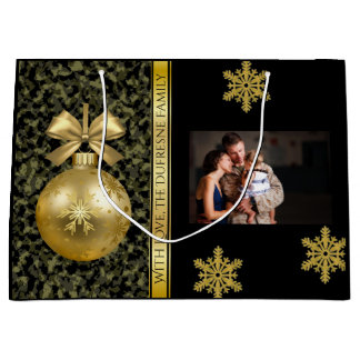 Elegant Camouflage w/Photo Christmas Large Gift Bag