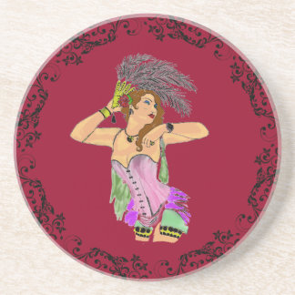 ELEGANT CAN CAN DANCER SOAPSTONE COASTER