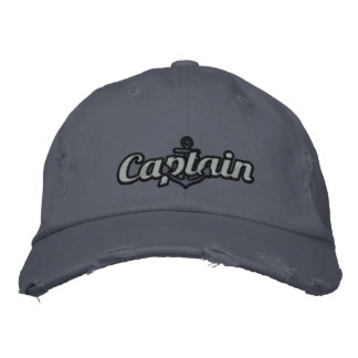 Elegant Captain Nautical Anchor Large Embroidery Embroidered Hat