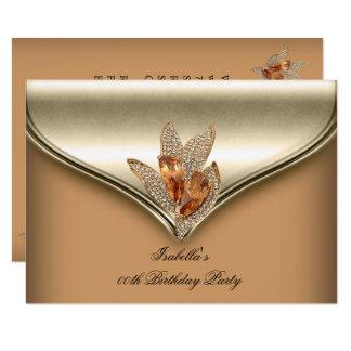 Elegant Caramel Beige Gold Birthday Party Card