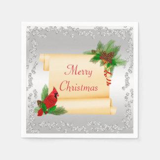 Elegant Cardinal & Scroll Diamonds Christmas Disposable Napkin