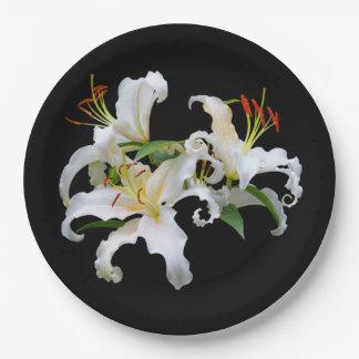 Elegant Casablanca White Oriental Lilies Paper Plate
