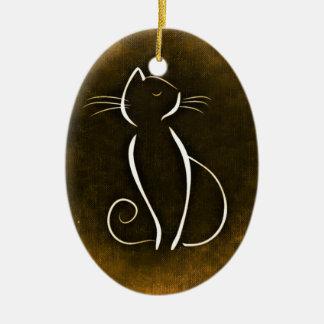 Elegant Cat, Snooty Cat Ceramic Ornament