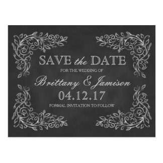 Elegant Chalkboard Filigree Wedding Save the Date Postcard