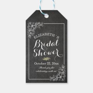 Elegant Chalkboard Floral  Bridal Shower Thank You Gift Tags