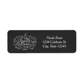 Elegant Chalkboard Pumpkin Happy Halloween Return Address Label