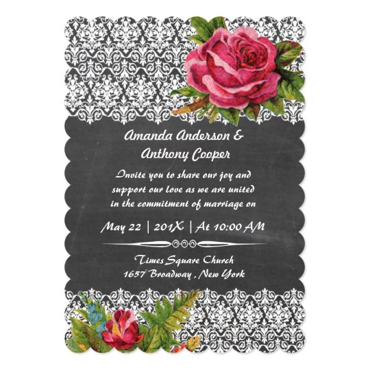 Elegant chalkboard rose and lace card