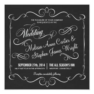 Elegant Chalkboard Square Wedding Invitations
