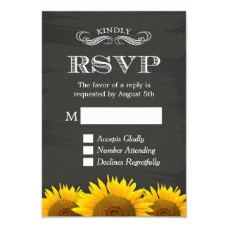 "Elegant Chalkboard Sunflowers Decor RSVP Reply 3.5"" X 5"" Invitation Card"