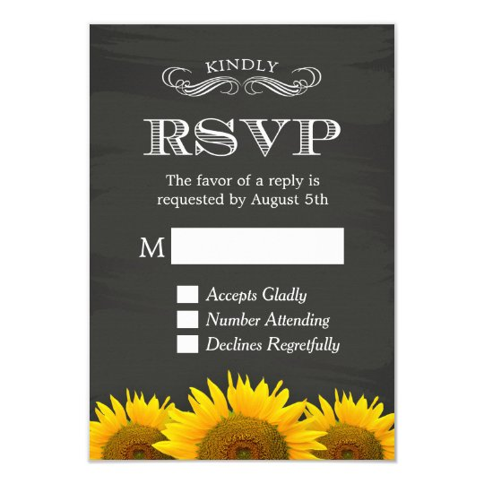 Elegant Chalkboard Sunflowers Decor RSVP Reply Card
