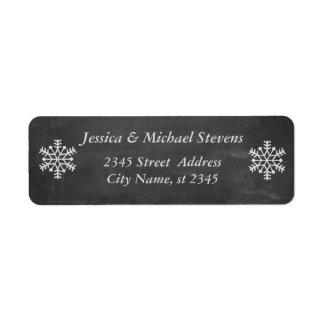 Elegant chalkboard trendy holiday snowflake winter return address label