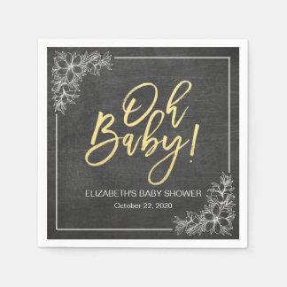 Elegant Chalkboard White Floral Frame Baby Shower Napkin