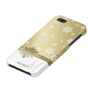 Elegant Champagne brown & white snowflakes iPhone 5 Cases