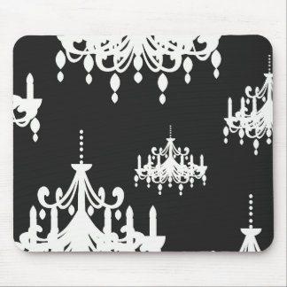 elegant chandelier black white damask mouse pad