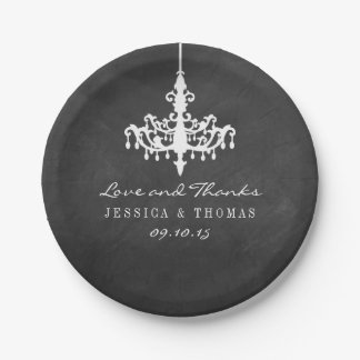 Elegant Chandelier Chalkboard Wedding Collection Paper Plate