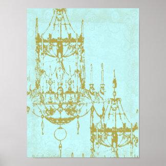Elegant Chandelier Vintage Patina Poster Print