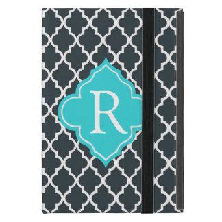 Elegant charcoal, aqua  blue quatrefoil monogram cover for iPad mini
