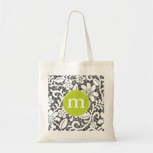 Elegant Charcoal Retro Lace Personalized Monogram Bags