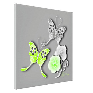 Elegant Chartreuse & Silver Butterflies And Roses Gallery Wrap Canvas
