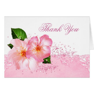 Elegant Cherry Blossom Funeral Thank You Cards