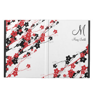 Elegant Cherry Blossom Monogram Red Cover For iPad Air