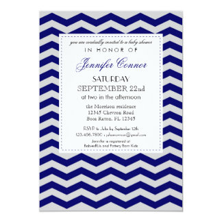 Elegant Chevron Baby Shower Navy Blue Invitation