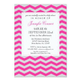 Elegant Chevron Baby Shower Pink Invitation